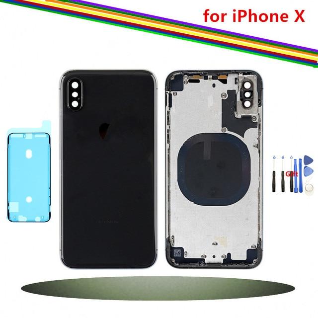Cubierta trasera de repuesto para iPhone X puerta trasera de la batería con vidrio trasero, blanco negro