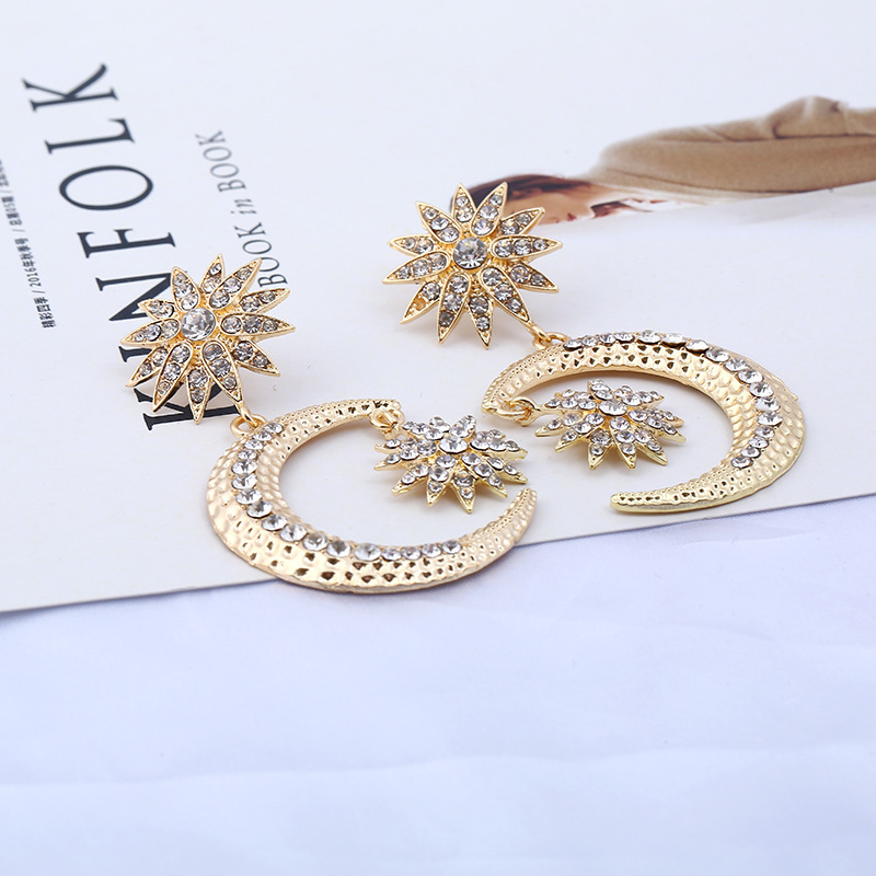 Jewelry Elegant goldsilver Rhinestone Star Moon Big Round Earrings