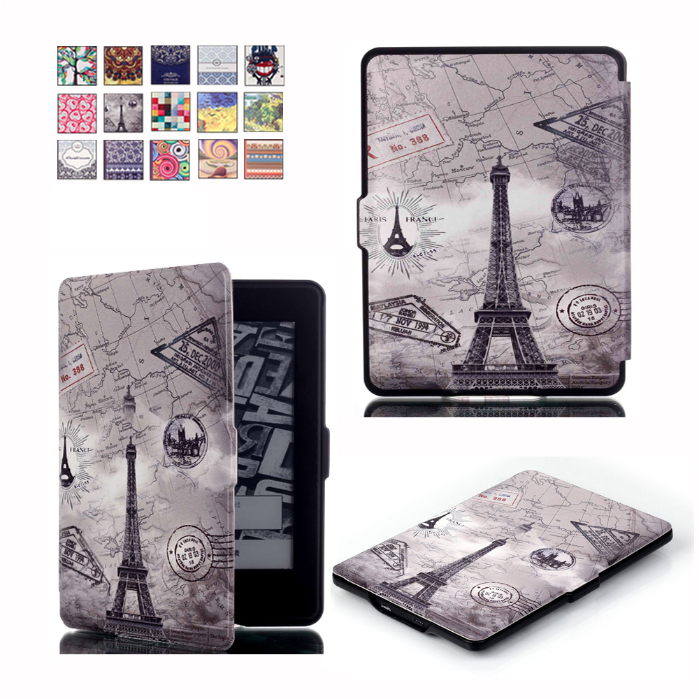Ultra Slim Printed Case for Amazon Kindle Paperwhite 1 2 3 PU Leather smart cover for Kindle 958 6th generation E-BOOK+Film+pen pu leather ebook case for kindle paperwhite paper white 1 2 3 2015 ultra slim hard shell flip cover crazy horse lines wake sleep