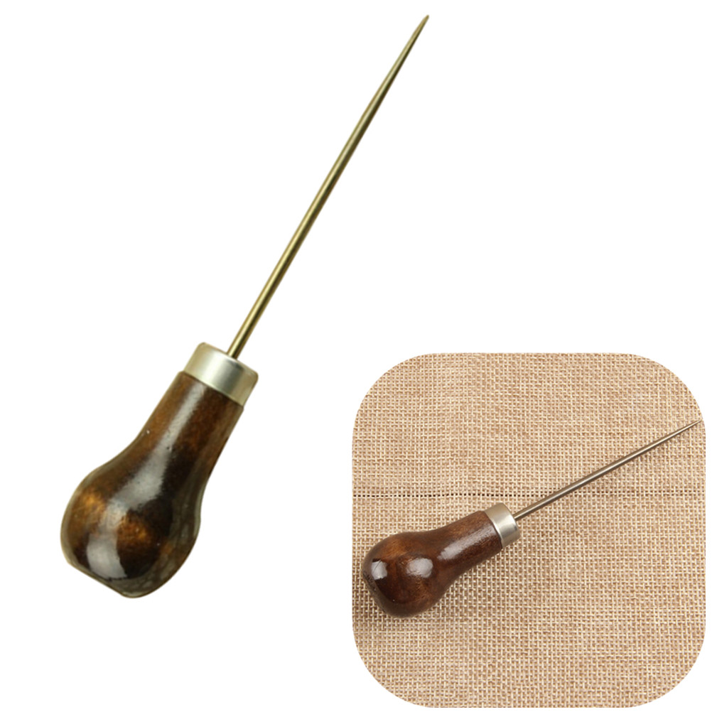 1Pc Professional Leather Wood Handle Awl Tools For Leathercraft Stitching Sewing Accessories