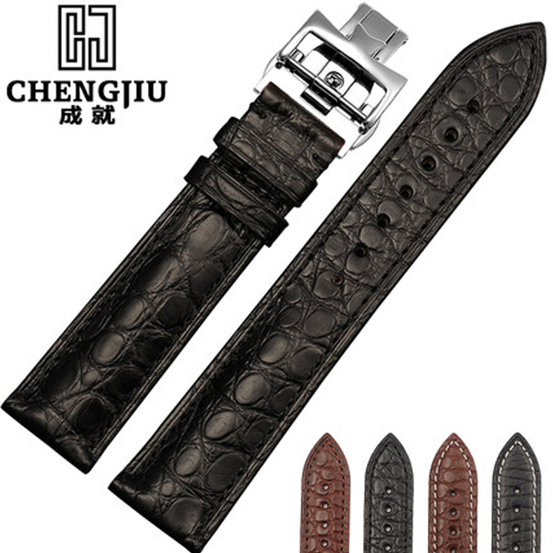 Crocodile Leather Men's Watch Band For Omega/Vacheron/Constantin/Patek Philippe Watch Leather Wrist Bracelet Montre Band women crocodile leather watch strap for vacheron constantin melisa longines men genuine leather bracelet watchband montre