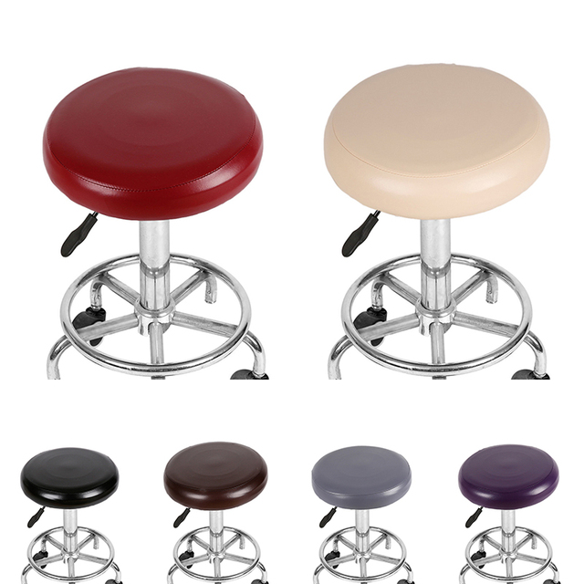 Elastic Pu Leather Round Chair Cover Waterproof Home Bar Stool Seat Slipcover Protector Case For Diameter