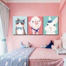 Unframed Home Decor HandPainted Modern Cartoon Pig Animal Oil Painting On Canvas Wall Art For Living Room Children 40X50CM
