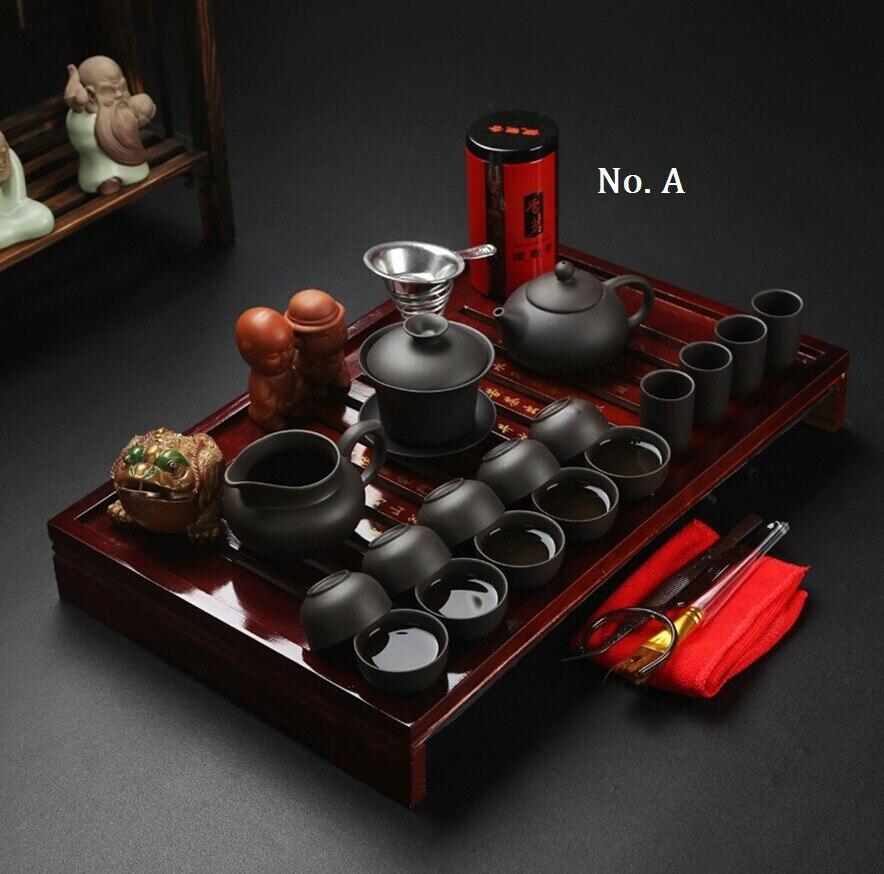 Livraison gratuite Vente Chaude En Céramique Violet Argile Thé Ensemble Kung Fu Pot Infuser Xishi Gaiwan Théière Servir Coupe Tasse De Thé Chinois verres