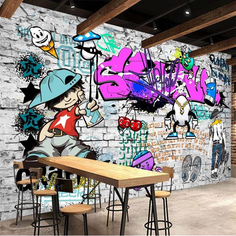 Beibehang Wallpaper Custom Mural Wallpaper Fashion Street Art Graffiti Hip-hop Brick Wall Decoration Decorative Wallpaper