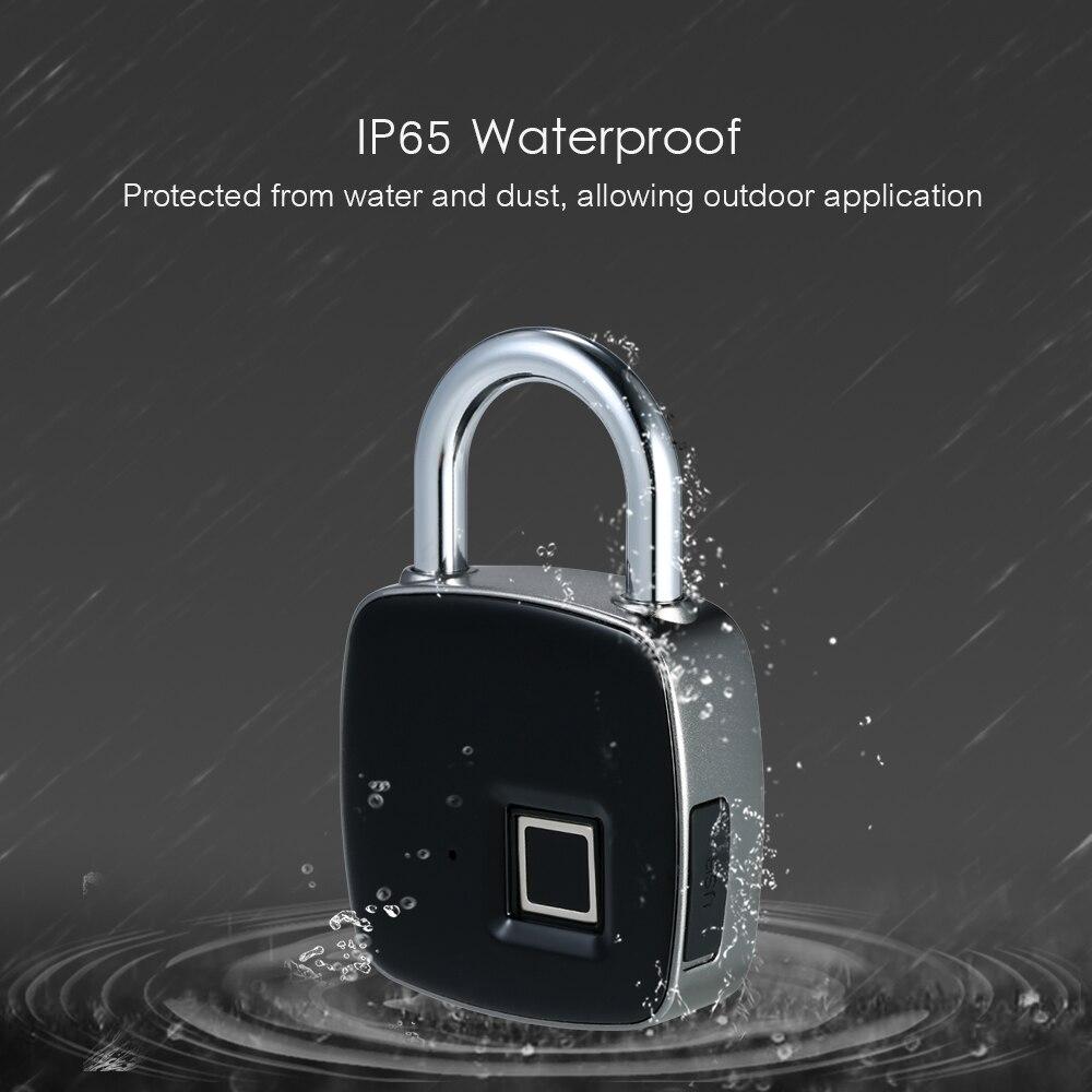 Image 4 - Smart Lock Keyless Fingerprint Lock IP65 Waterproof cerradura inteligente Anti Theft Security Padlock Door Luggage Case Lock-in Electric Lock from Security & Protection