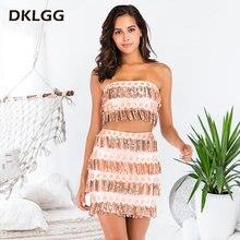b57864890c1 DKLGG Sexy Fringed Two-piece Set Tube Top Strapless Slim Tassel Sequin Mini  Skirt