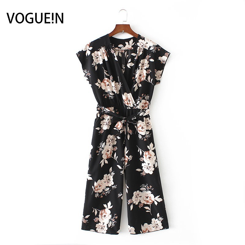 VOGUE!N New Womens Ladies Vintage Short Sleeve Floral Print V Neck Wide Leg Playsuits Jumpersuit