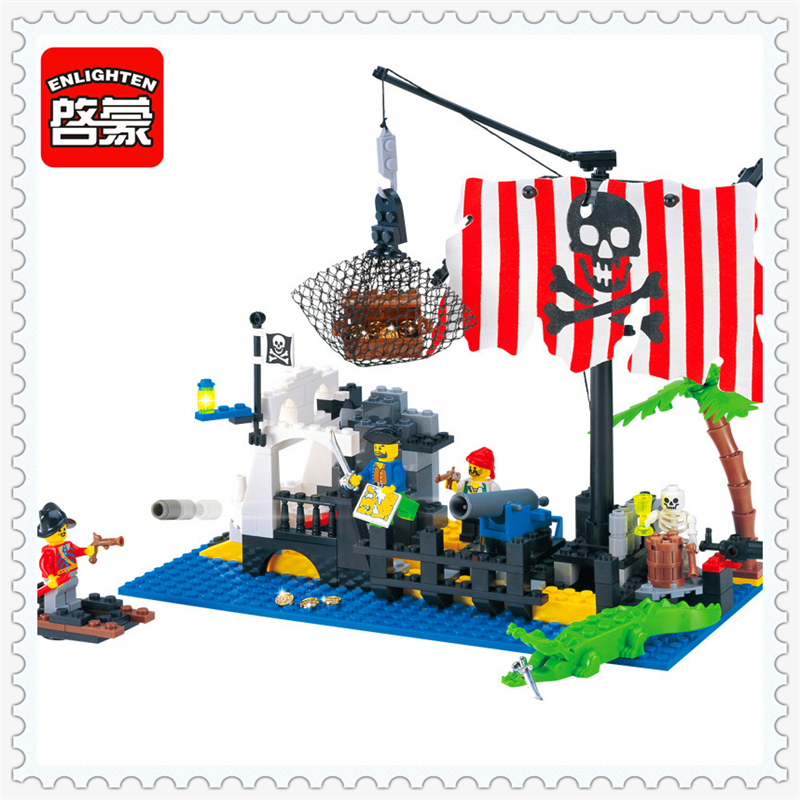 ENLIGHTEN 302 Pirate Series Command Center Ship Building Block 238Pcs DIY Educational  Toys For Children Compatible Legoe lepin 22001 pirate ship imperial warships model building block briks toys gift 1717pcs compatible legoed 10210