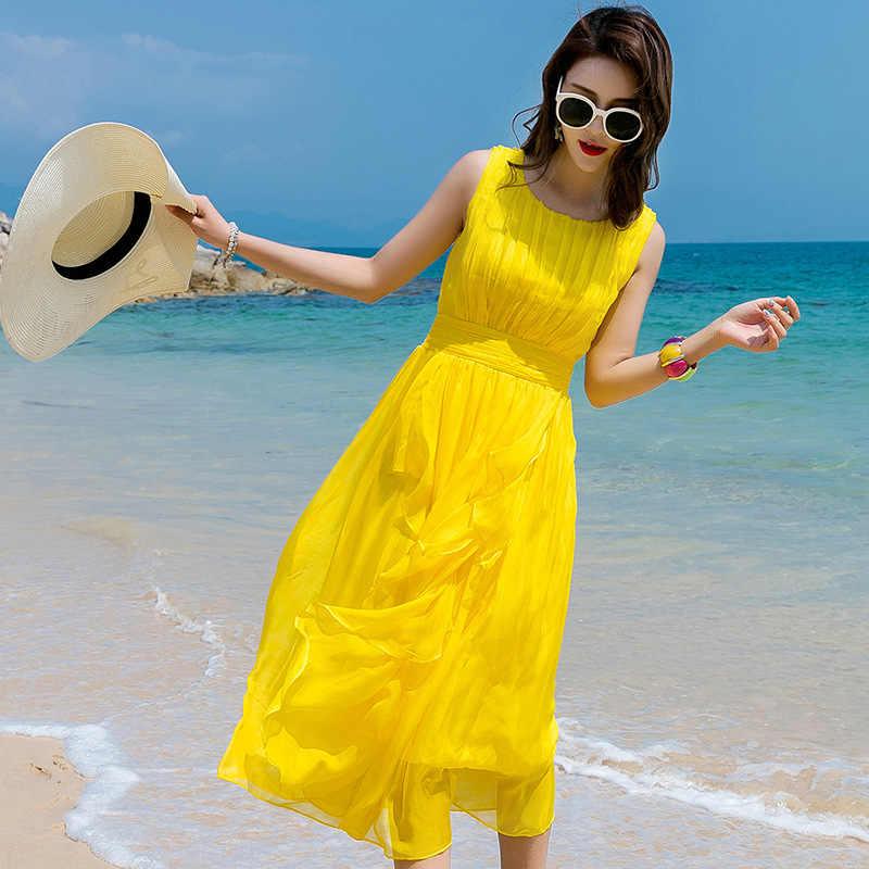 Tcyeek летнее пляжное платье Для женщин Длинные вечерние платья желтого цвета Vestidos шелковое платье без рукавов Элегантные платья Макси платья Повседневное LWL1530