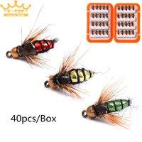 40 unids Wing Feather Cebo Artificial Señuelo de la Pesca Con Mosca Gancho Kit Señuelo de la Mosca Seca Ganchos de Pesca Con Mosca Que Ata