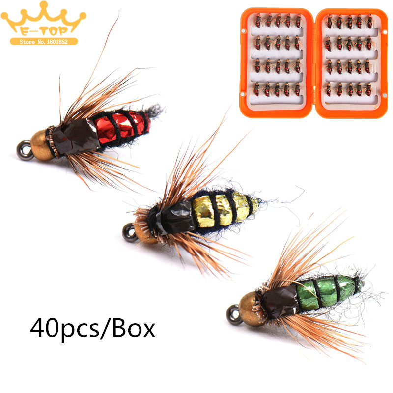 40pcs Fly Fishing Artificial Bait Lure Feather Wing Hook ...