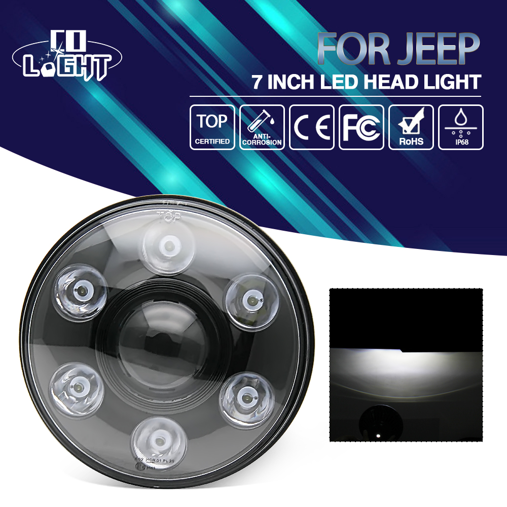 COLIGHT 7 Inch Round LED Headlight Led 12V For Jeep Wrangler Offroad Lada Car-styling with Angel Eye Turn Signal Driving Light 7 60w led headlight with halo angel eye turn signal light driving headla for wrangler jk 05 16 car offroad led tru projector