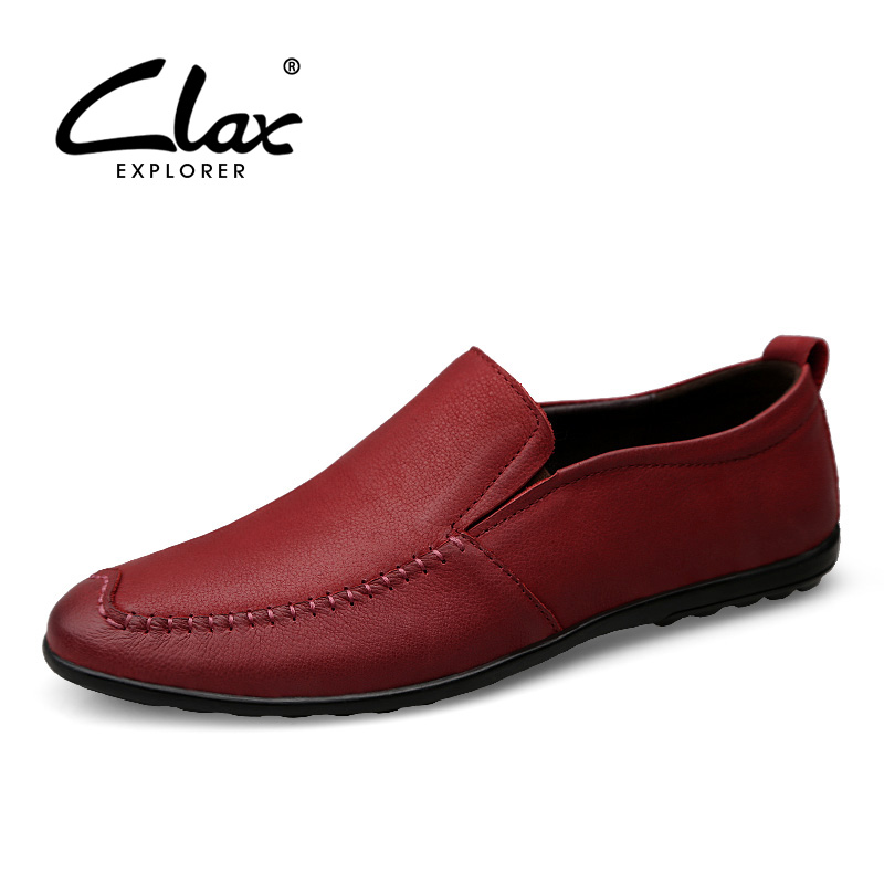 CLAX Men Loafer Genuine Leather 2018 Spring Summer Fashion Mans Leather Shoe Slip ons Casual Footwear Red Moccasin Flats Soft