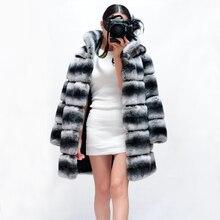 2016 Autumn Winter Women's Fashion Natural Fur Coats Real Chinchilla Rex Rabbit Fur Coat Retro Full Pelt Fur Long Jackets CW231