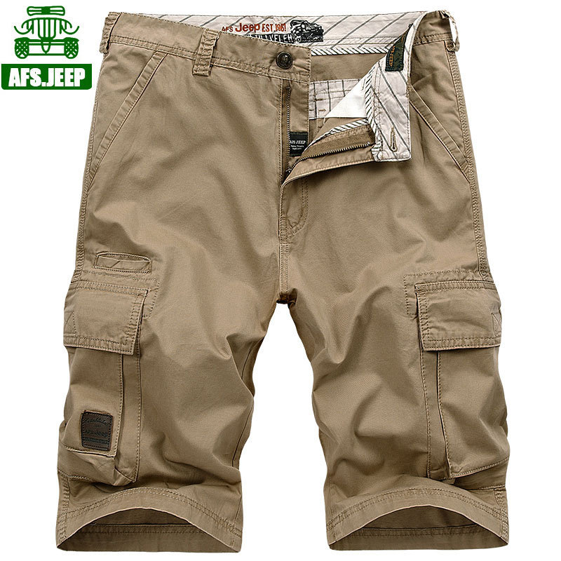NEW JEEP 2018 Men Cool Summer big size 30 44 army Casual Brand Shorts 100% pure cotton Man Cargo Work Large Pocket trousers Male