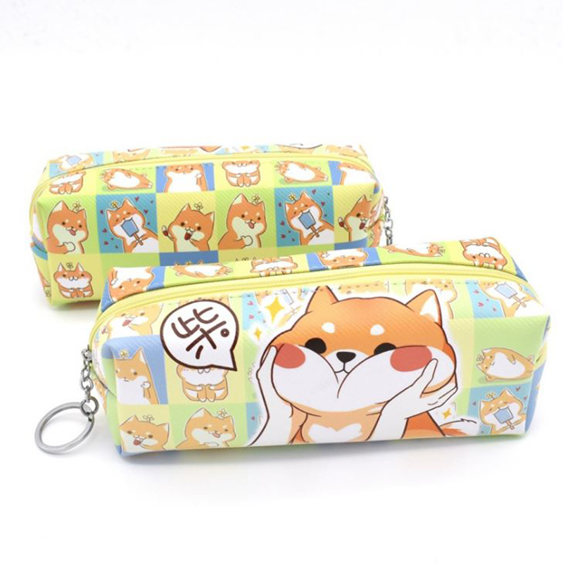 1 Pc Lovely Annoy Shiba Dog PU Large Pencil Case Stationery Storage Organizer Bag School Office Supply Escolar цена 2017