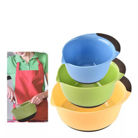 3pcs/set round plastic salad bowl set kitchen mixing bowl Wash Vegetable Fruit basket Household Cleaning Tool