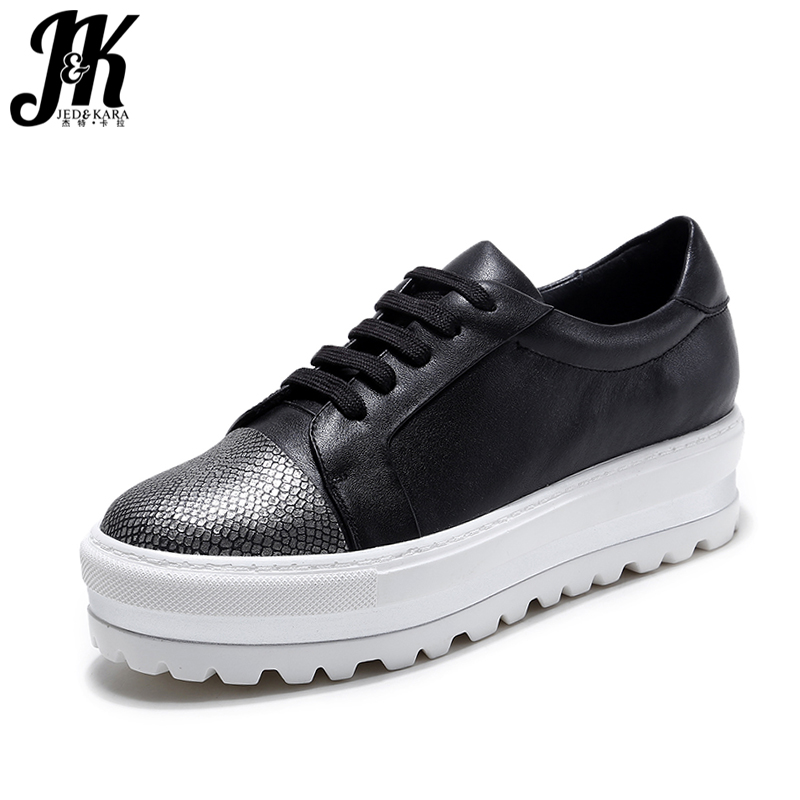 JK 2018 Women s Vulcanize Shoes Genuine Leather Flat White Brand Women Shoes Sexy Thick Sole