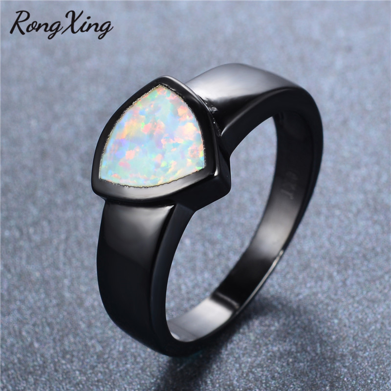rongxing geometric white fire opal rings for women fashion band jewelry vintage black gold filled october birthstone ring rb0698