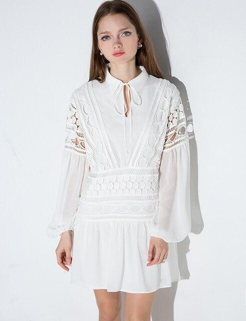 Blanco Vestido de Encaje 2016 Nueva Primavera de Las Mujeres Elegantes de La Vendimia Floral Hueco Del Ganchillo Runway Vestido de Manga Larga Túnica Camisa