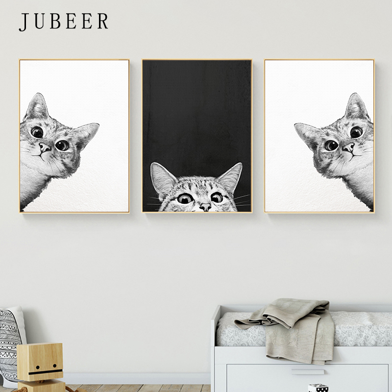 Scandinavian Style Cute Animal Poster Cat Kitten Picture Wall Art Painting For Living Room Bedroom Home Decor Nursery Art Poster