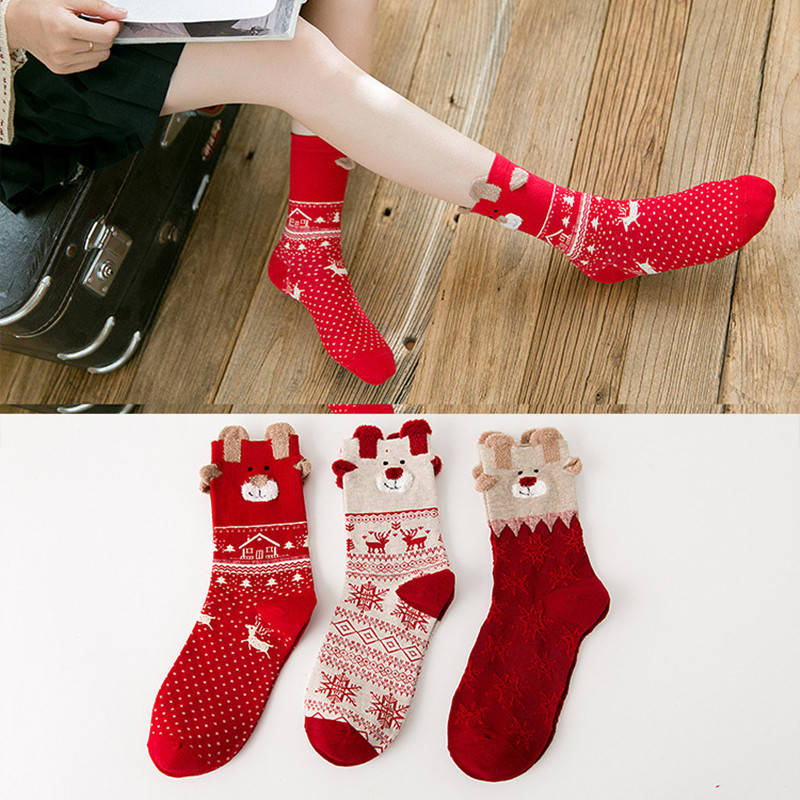 18 New Arrival Women Girls Socks Christmas Cotton Milu Snow Pattern Novelty Cute Cartoon Happy Gift Sokken Sox Crew Thick Winter