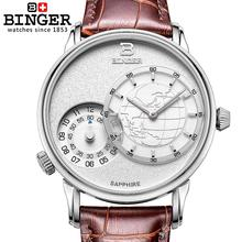 Relojes hombres lujo de la marca suiza BINGER Relojes de Pulsera 18 K de oro de cuarzo correa de cuero impermeable BG-0389-A6