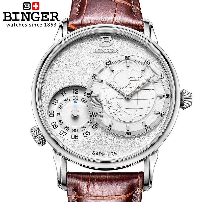 Switzerland watches men luxury brand Wristwatches BINGER 18K gold quartz leather strap waterproof BG 0389 A6