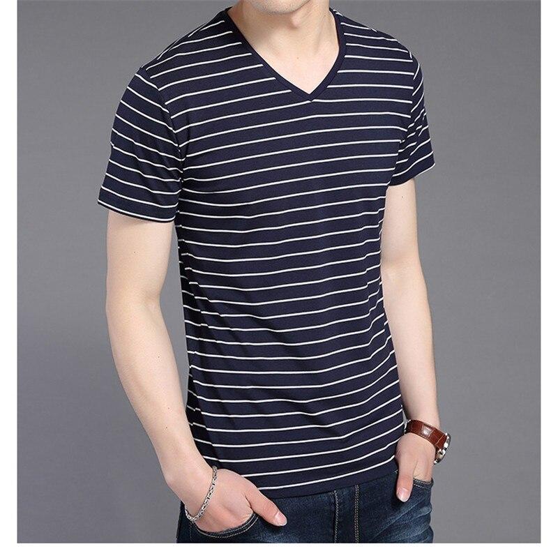 Liseaven New Men V Neck Striped T-shirt Short Sleeve tshirt Fashion Men's tees Clothing 11