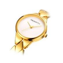 REBIRTH Kvinnor Klockor Stål Rem Casual Dam Klockor Top Brand Luxury Gold Braceket Quartz Klocka Klassiska Kvinnor Klockor 044