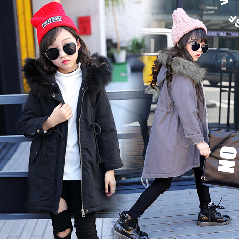 Girls Parkas Jackets Winter Jacket Coat 2018 New Plus Cotton Warm Hooded Fur Collar Outerwear High Quality 110-160 стоимость