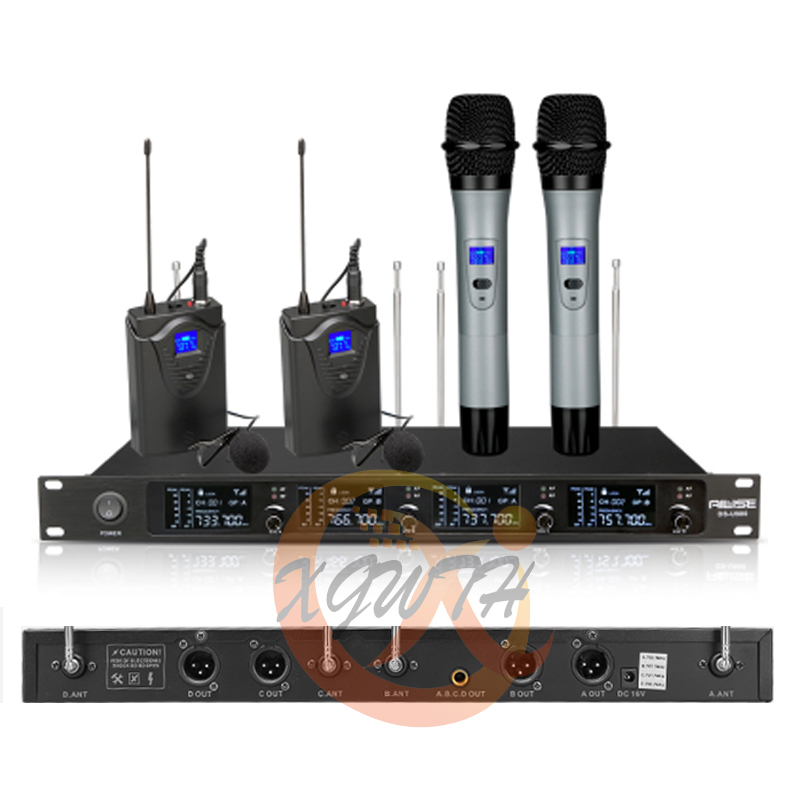 4 channel uhf wireless karaoke microphone system 4 mic 1 wireless lcd display receiver handheld. Black Bedroom Furniture Sets. Home Design Ideas