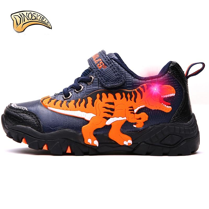 Dinoskulls 2018 Boys Light Up Shoes Children s Glowing Sneakers Kids Luminous Sports Running Shoes Rex