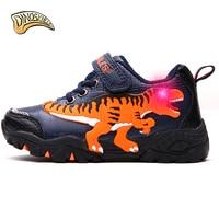 Dinoskulls 2018 Boys Light Up Shoes Children's Glowing Sneakers Kids Luminous Sports Running Shoes Rex Dinosaur Boy Shoes #27 34