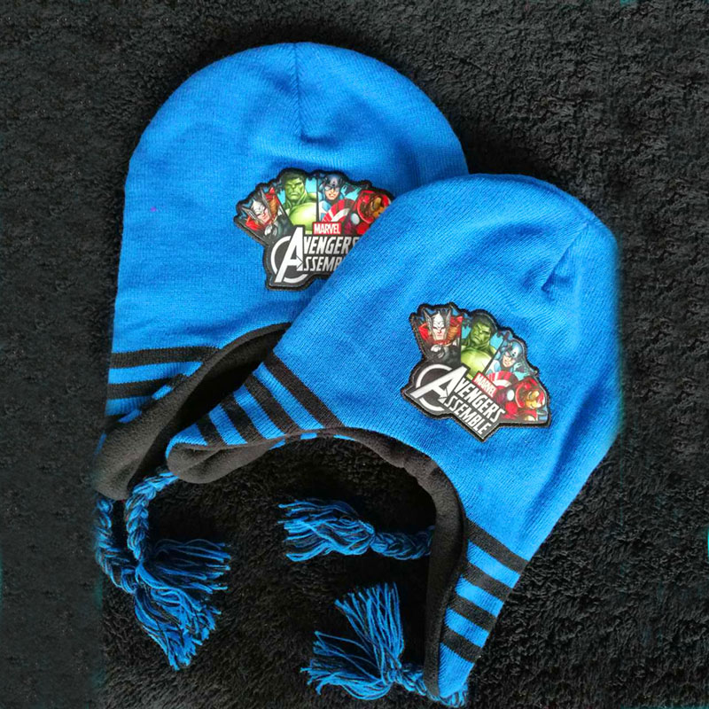 New Hot hat winter kids Super hero hats cartoon hat headgear for Boys thickening warm Protect your ears Hat