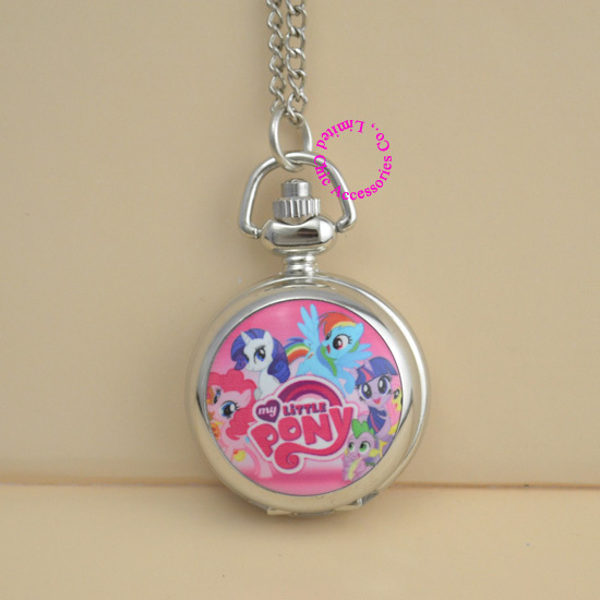 Fashion picture rose pink cute my little horse pocket watch necklace silver women ladies girl for Little pony watches