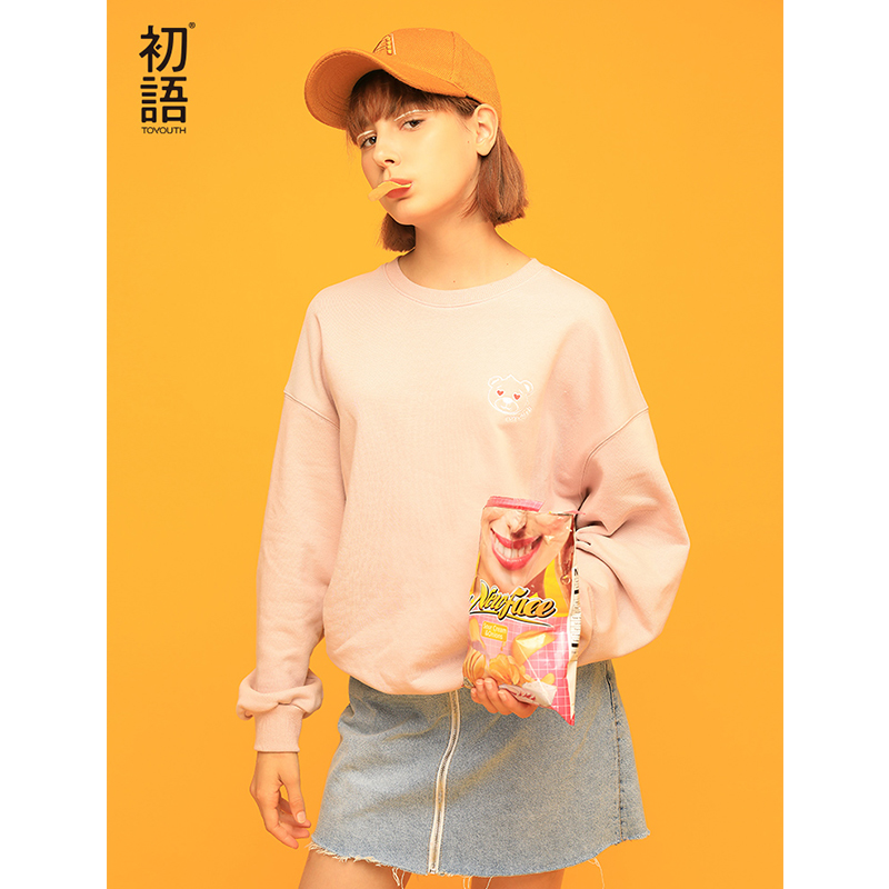 Toyouth New Arrival 2019 Women Sweatshirt Casual Loose Long Sleeve O-Neck Hoodies Female Spring Bear Embroidery Pullovers