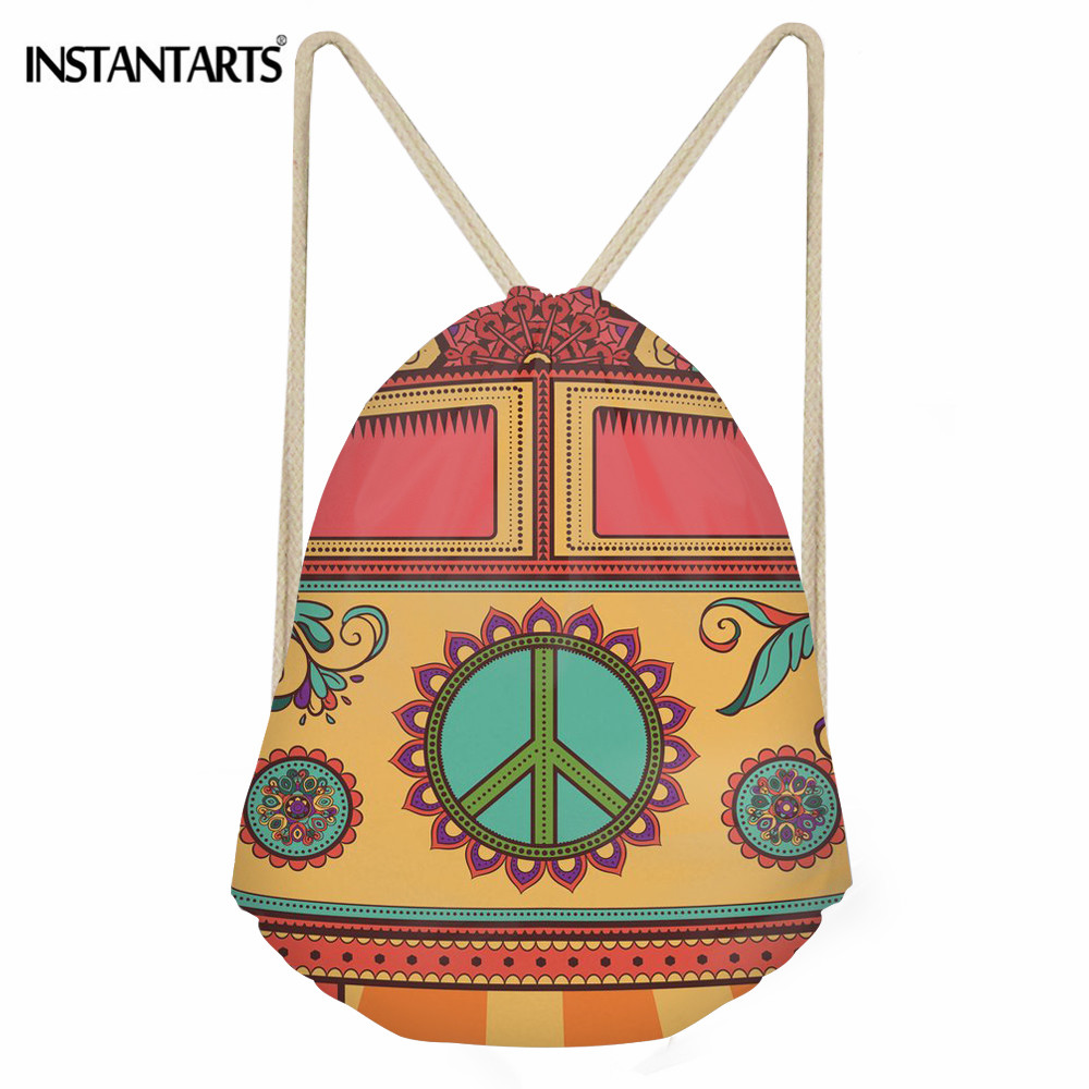 INSTANTARTS Hippie Van Pattern Casual Drawstring Bag Girls Boys Backpacks For Teenagers School Shoulder Bag Travel Storage Pouch