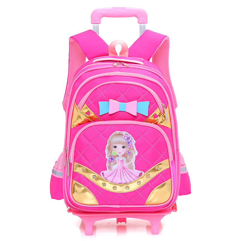 New Removable Children School Bags with 2/6 Wheels for Girls Trolley Backpack Kids Wheeled Bag Book bag travel luggage Mochila(China)