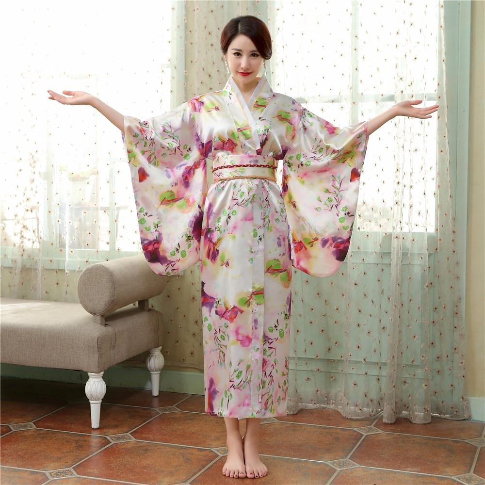 Traditional Japanese Women Yukata Dress Gown High Quality Satin Kimono New Floral Performance Dance Clothing Halloween Costume