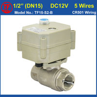5 Wires DN15 Water Electric Valve DC12V BSP NPT 1 2 Full Port Stainless Steel Valve