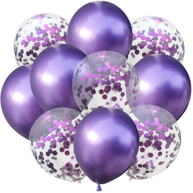 10 шт./лот, 12 дюймов, 5 шт., металлический цвет+ 5 шт., конфетти, латексные шары, для детей, для дня рождения, украшения, шары, мультяшная шляпа, игрушка - Цвет: purple