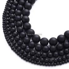 Contas de vidro, granel por atacado, polido, fosco, preto, pedra natural, miçangas soltas para fazer jóias 4 6 8 10 12mm