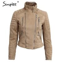 Simplee Faux Leather Suede Outerwear Coats Short Slim Basic Jackets Female Jacket Coat Women Winter 2016
