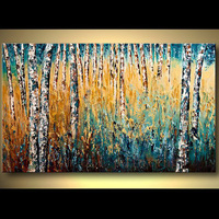 Hand Painted Birch Tree Painting for Home Decorative Handmade Wall Art Palette Knife Thick Landscape Texture Canvas Oil Painting|Painting & Calligraphy|Home & Garden -