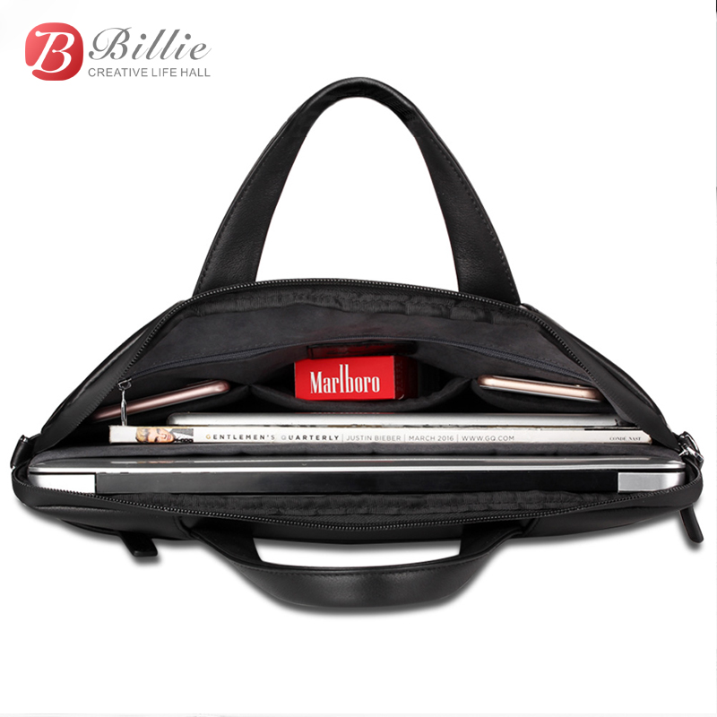"""Image 5 - Laptop bag case For Macbook Asus lenovo 13""""15"""" Deluxe Genuine Men's Briefcase High Quality handbag computer bags Notebook bags-in Laptop Bags & Cases from Computer & Office"""
