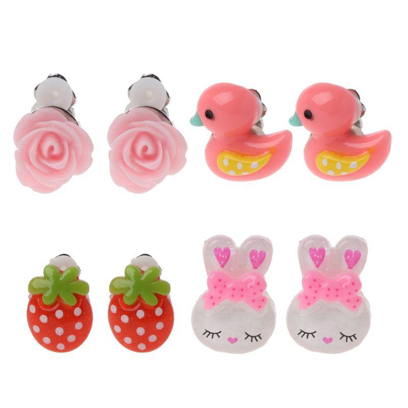 Cartoon Animal Lovely Baby Pink Ear Clip Kids Earrings For Girls Fashion Jewelry