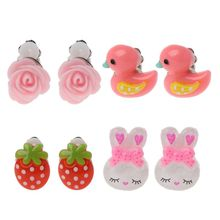 Cartoon Animal Lovely Baby Pink Ear Clip Kids Earrings For Girls Fashion Jewelry