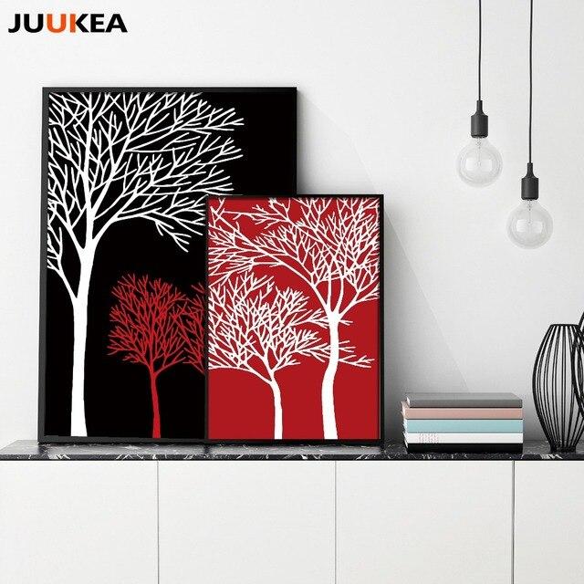 Schwarz Weiß Rot Baum Minimalistische Moderne Dekorative Kunst ...